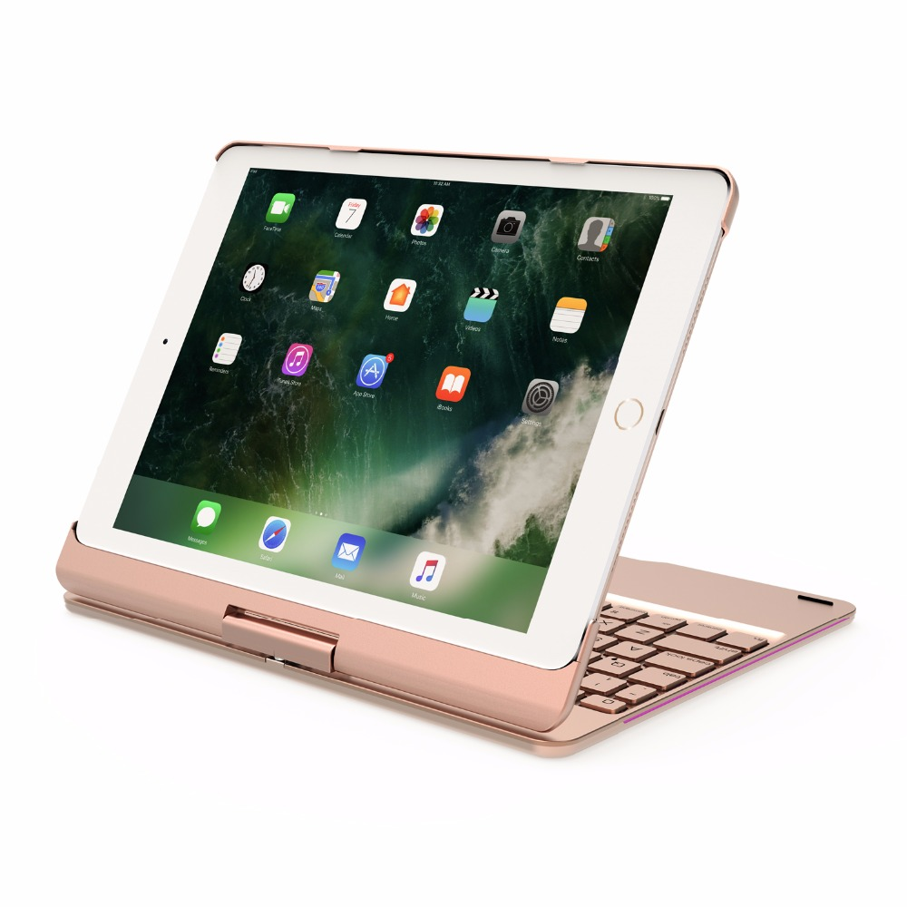360 Degree Rotable Aluminum 7 Color BackLight Bluetooth Keyboard Case Cover for Apple New iPad 9.7 2017 2018 iPad Air 1 2  5 6-14
