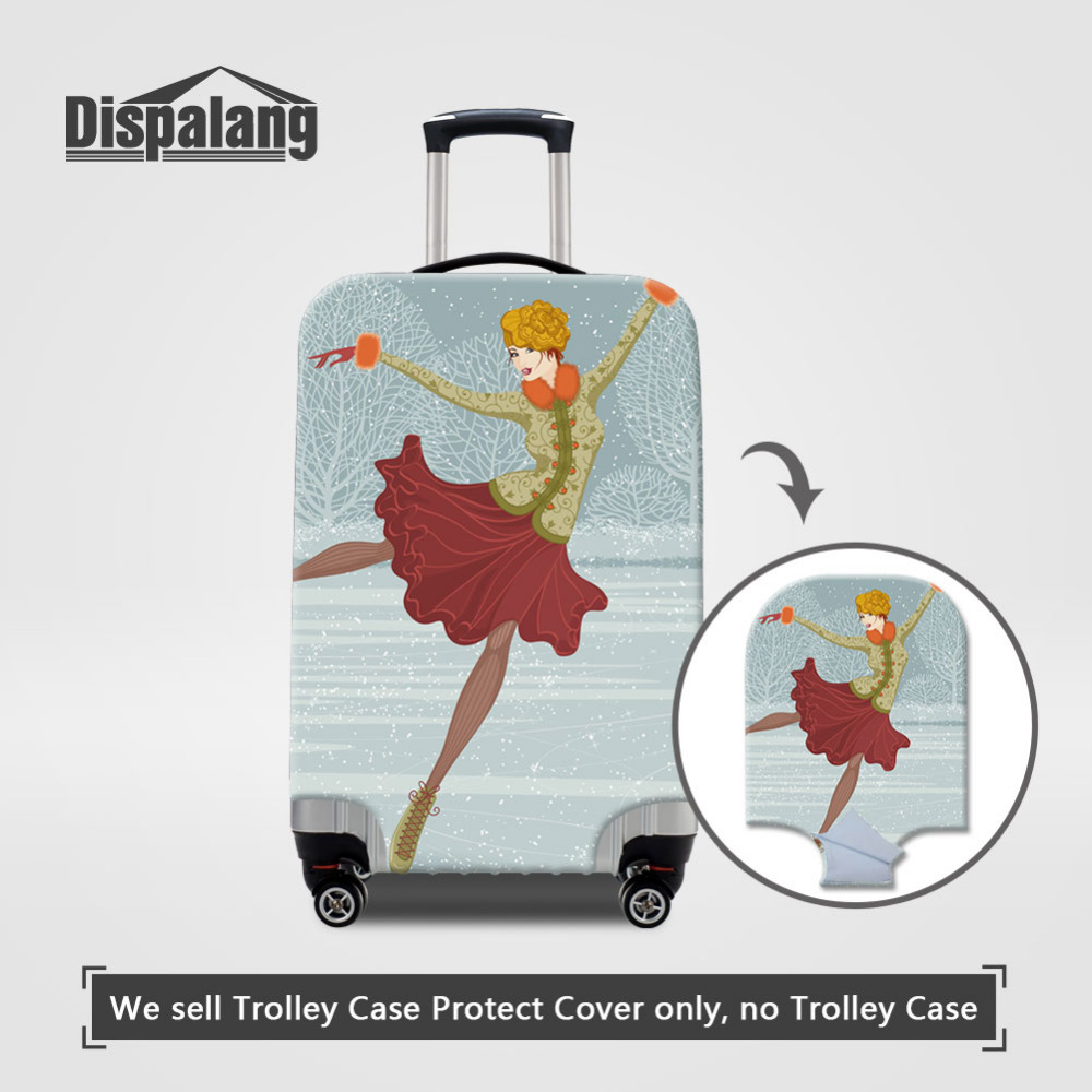 Dispalang Thicken Luggage Cover Ice Skates Print Travel Suitcase Protective Cover For 18-30 Inch Trunk Case Girls Baggage Cover