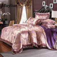 Cotton A side Jacquard satin Bside sanding bedding sets bed set pillow duvet cover bed sheet Quilt cover wedding 4pcs BE1166
