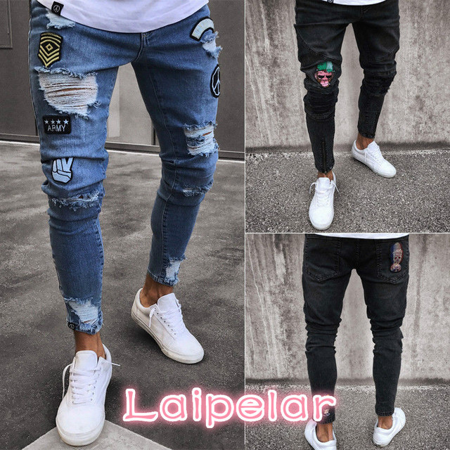 ececd8e2ba61 Men's Stretchy Ripped Jeans Cartoon Patch Skinny Biker Destroyed Taped Jeans  Slim Fit Black Denim Pants 2018 New Laipelar