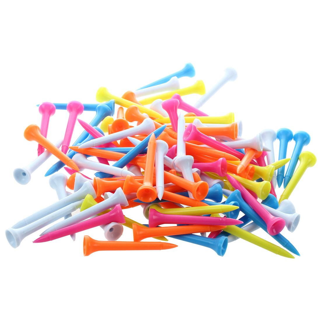 100 pcs Golf Tees 54 mm Plastic Mixed Color