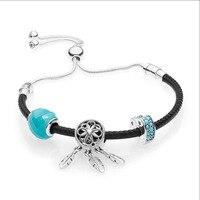 2018 New 100% 925 Sterling Silver Black Leather Bracelet Gift Set Fit panqiou Bracelet Spiritual Dreamcatcher Charm DIY Jewelry