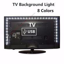Светильник для фона телевизора, 1 м, 2 м, 3 м, 4 м, 5 м, водонепроницаемый, 5 В, USB, Светодиодная лента, украшение, вход USB, гибкий, для чтения, низкая ц...