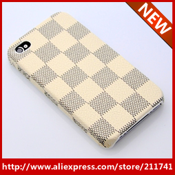 FREE SHIPPING 1 PCS Retail wholesale 2013 milk white  Positive grid design  leather back cover for iphone 4 4s