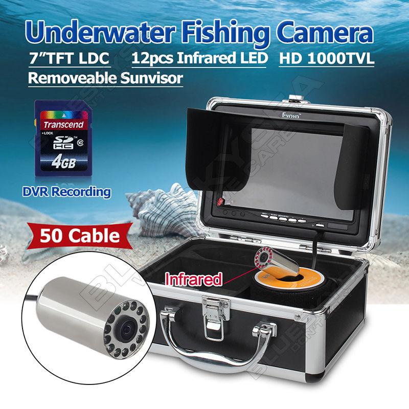 Free shipping!EYOYO 50m 7 LCD Underwater Video DVR Camera IR Fish Finder Fishing Tools IP68 eyoyo 50m fish finder 2 4g wifi wireless waterproof underwater fishing video camera free shipping