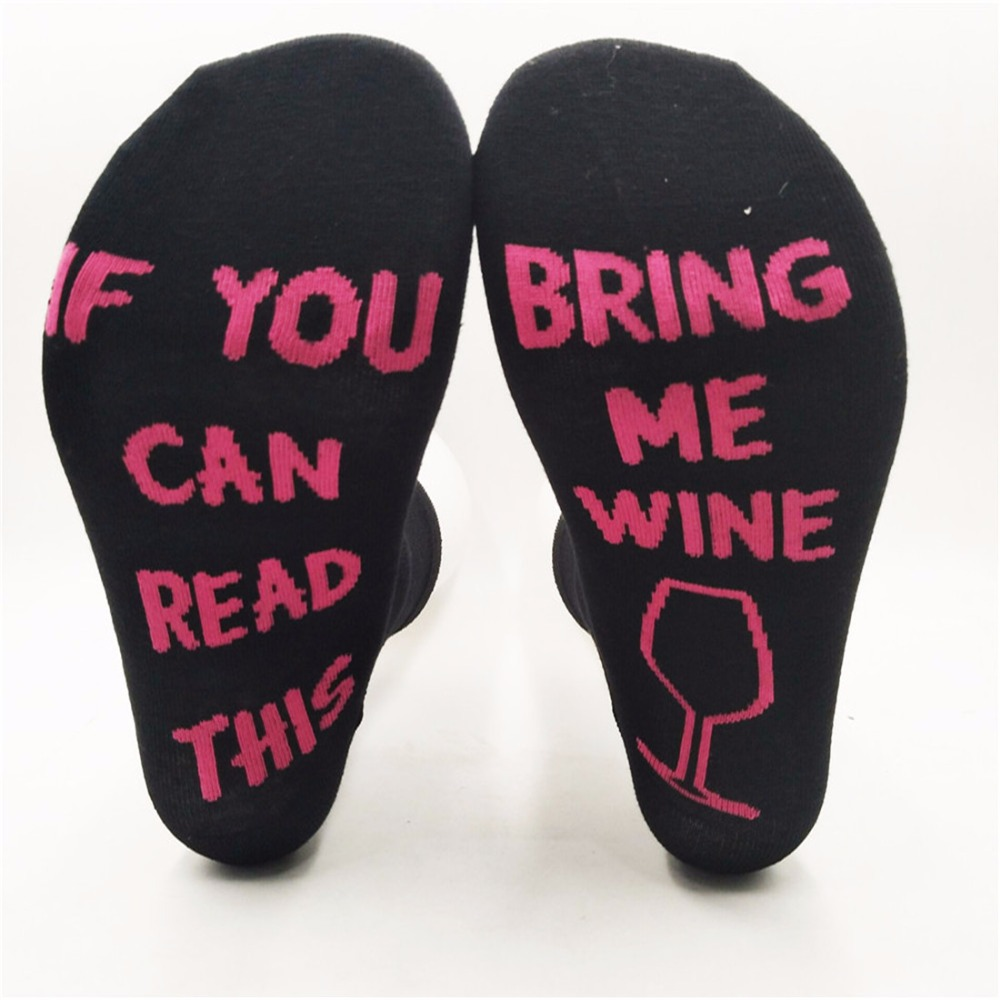 Fashion Hot Sales Creative Funny Printed Socks Humor Words If You can read this Bring Me Wine of Wine socks