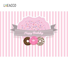 Laeacco Donut Backdrops Little Girl Birthday Party Photography Background Customized Photographic Backdrops For Photo Studio 100% hand painted pro dyed muslin backdrops for photography studio customized photographic background wedding backdrops 10x10ft