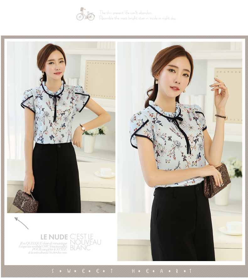 HTB1NUi8PVXXXXXfXXXXq6xXFXXXT - Summer Floral Print Chiffon Blouse Ruffled Collar Bow Neck Shirt