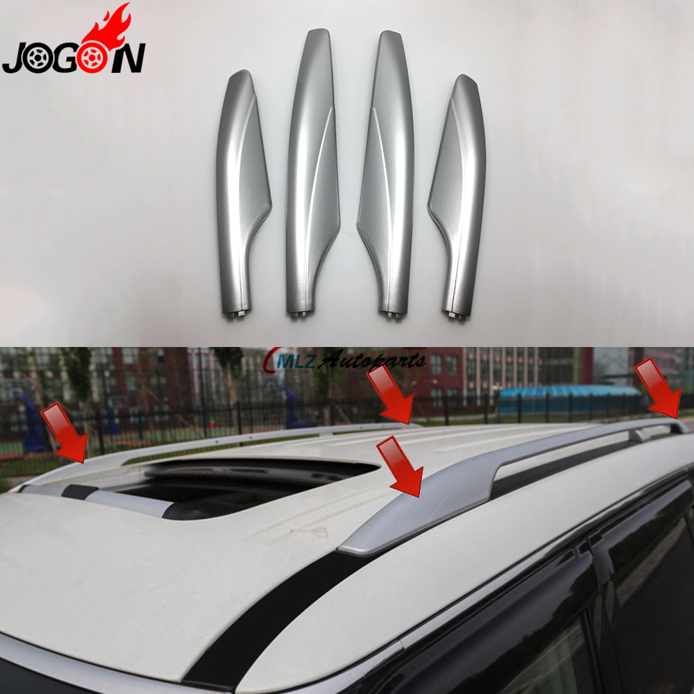 Silver ABS Roof Rack Bar Rail End Protection Replacement Cover Shell 4PCS For Nissan Patrol Y62 2010 - 2013 2014 2015 2016 2017