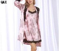 YT11 2017 New Fashion Womens Silk Black Lace Sleep Lounge Lingerie Temptation Nightgown Kimono Sleepwear Robe