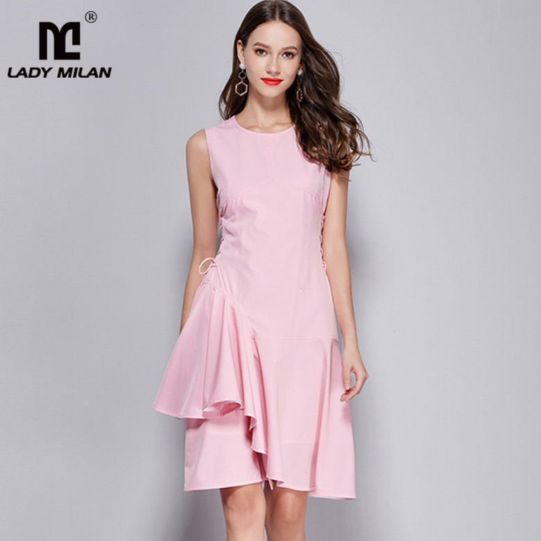 Lady Milan Womens O Neck Sleeveless Side Lace Up Asymmetric Ruffles High Street Fashion Short Summer Dresses