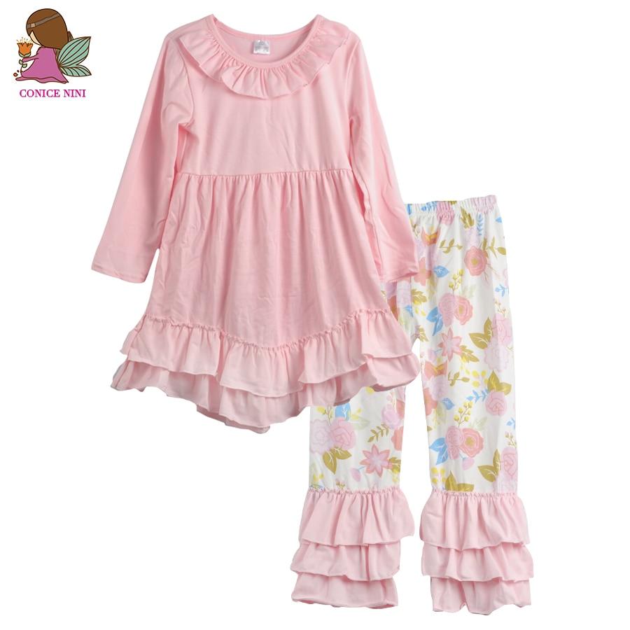 Conice nini brand fall winter girls clothing sets pink swing long top print ruffle pants Mla winter style fashion set