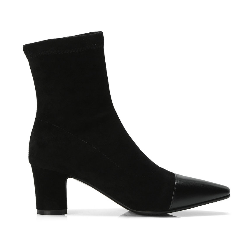 Mujer Cuadrados Punta Zapatos 2019 Tamaño Invierno Mujeres Apricot Altos Para negro Tacones 34 Botas En Las Patchwork 43 De Esveva Tobillo gqztYxwz