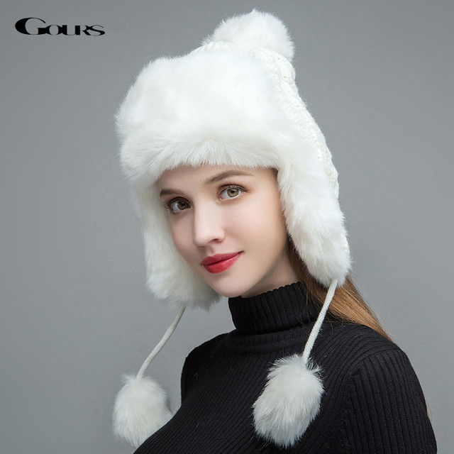 545fa9ebc US $21.5 |Gours Fur Hats for Women Faux Fur Russian Ushanka Hats Winter  Thick Warm Ears Fashion Knitted Bomber Caps New Arrival GLH030-in Bomber  Hats ...