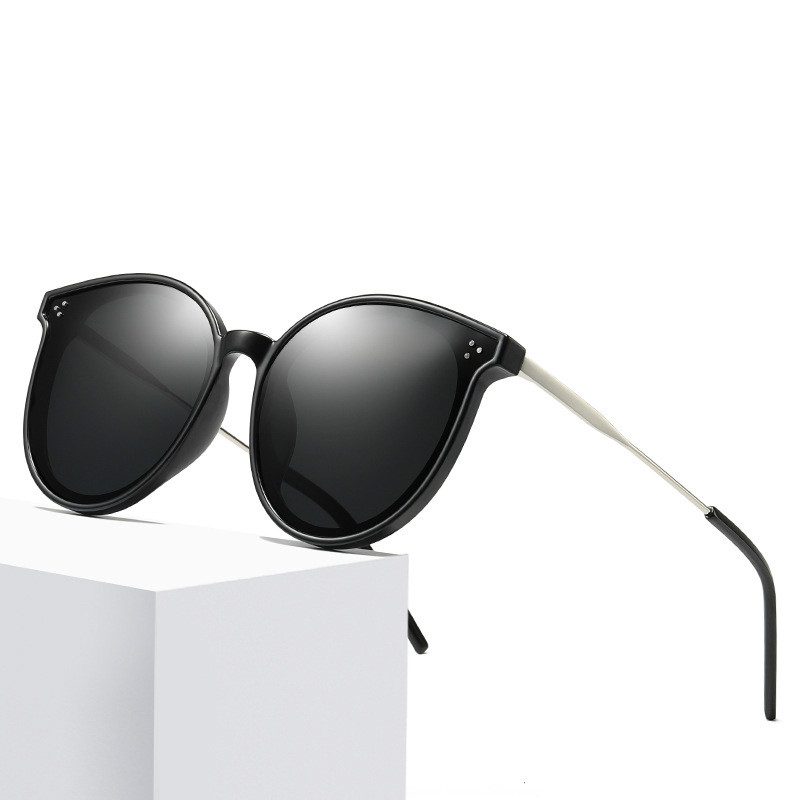 Brand Designer Design Fashion Sunglasses Women Polarized Cat Eye Sun Glasses Oval Alloy Driving Mirrors Colorful
