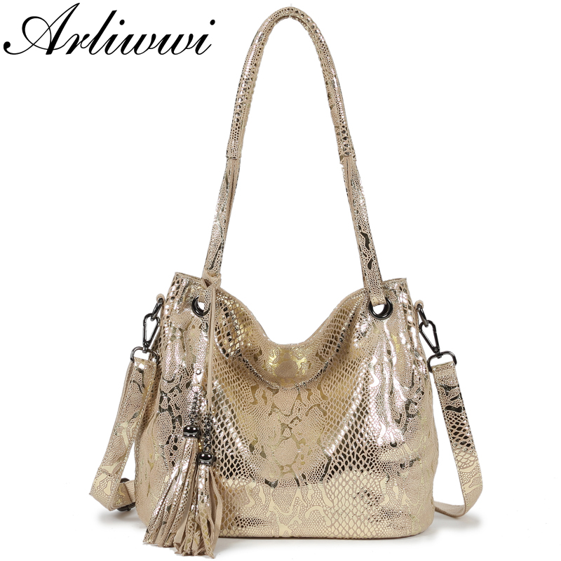 Arliwwi High Quality 100 Genuine LEATHER Serpentine Image Embossed Women Real Leather Bags Metalic Shiny Ladies