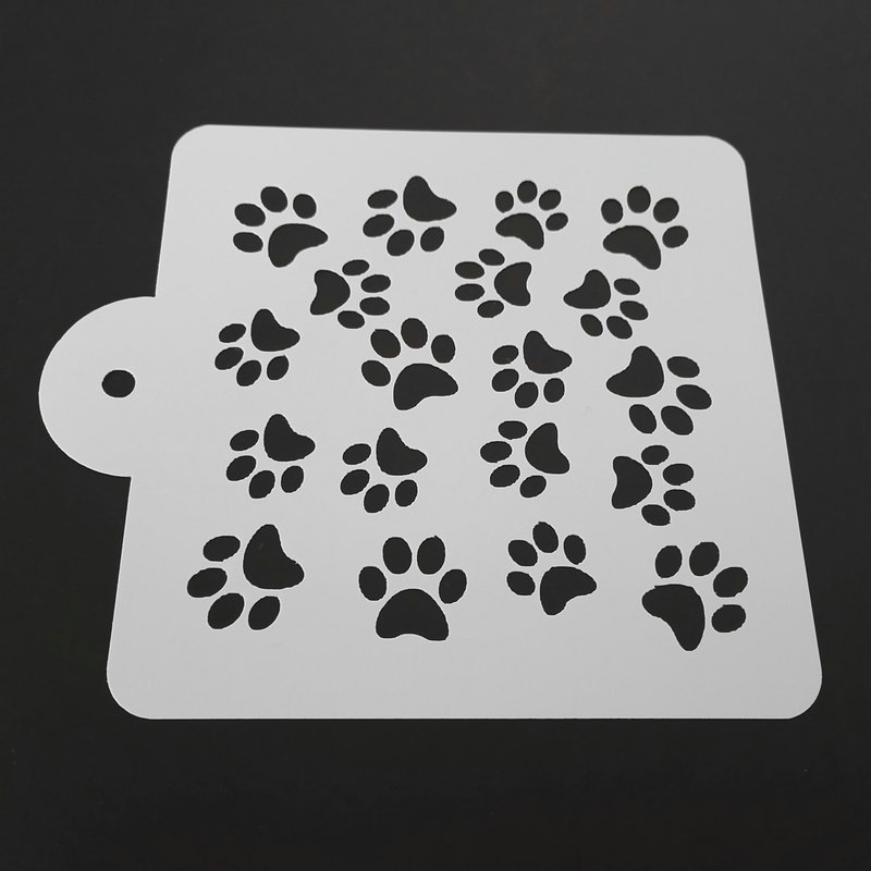 5 Dog Paw Cake Stencil Template
