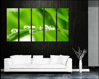 5P 100% hand painted huge wall art oil painting on canvas  green leaves  free shipment no framed