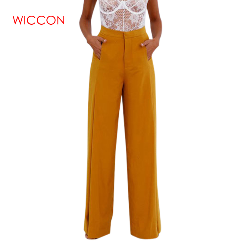 Women's High Waist   Wide     Leg     Pants   Solid Color Full Length Loose   Pants   Office Lady Loose Stretch Yellow White Trousers Work Wear