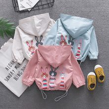 Baby Girls Boys Coat Cute Rabbit Print Pockets Floral Ruched Warm Hooded Zipper Windproof Coat Tops 2019 New Arrival(China)