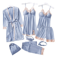 Pijamas femininos 8 peças de cetim pijamas de seda casa vestuário bordado dormir lounge pijama com almofadas de peito
