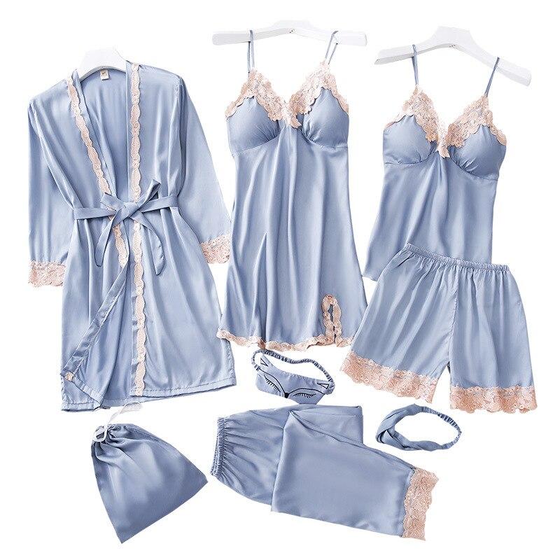 Women Pajamas 8 Pieces Satin Sleepwear Pijama Silk Home Wear Home Clothing Embroidery Sleep Lounge Pyjama With Chest Pads