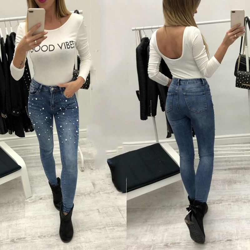 Jeans   For Women High Waist Pearled Slim Denim Pants Stretch Beading   Jeans   Washed Denim Skinny Pencil Pants Female