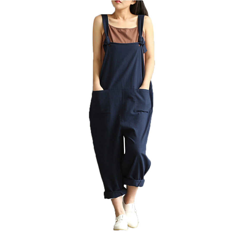 Fashion Women Girls Loose Solid   Jumpsuit   Strap Dungaree Harem Trousers Ladies Overall Pants Casual Playsuits Plus Size #O