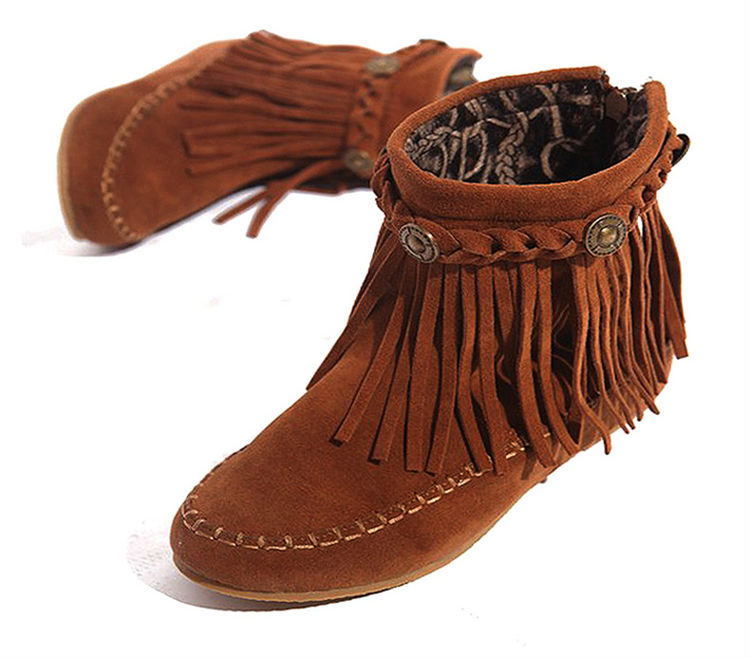 ФОТО US5-9 Suede Leather Like  Moccasin Fringe Tassel Ankle Boots womens  wedge shoes