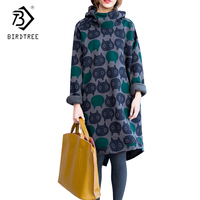 Cat Print Women Hoodies & Sweatshirts Plus Size Winter Thickening Fleece Warm Female Big Size Casual Hooded Dress DC77066AW
