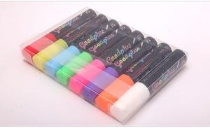 Image 5 - Flashcolor Highlighter bolígrafos marcadores para Pizarra de 15mm, líquido, punta ancha para tablero de escritura LED, 8 uds, rotulador para ventana borrable no tóxico