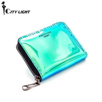 Womens Credit Card Holder ins Fashion Laser Clutc  Multifunction Organizer RFID Purse Driver License Wallet