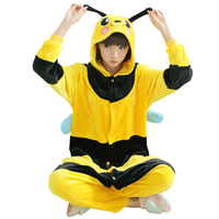 Animal Cosplay Bee Flano Costume Adult Onesies Pajama For Halloween Carnival Masquerade Party