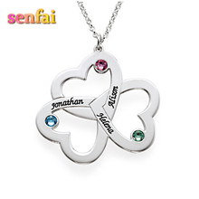 Custom Name Triple Love Hearts Birthstone Pendant Necklace,Hand Stamped Jewelry Mom Necklace Gift Couple Jewelry