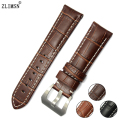 24mm ITALY Leather Watch Band Watchbands Black Brown 22mm Bracelet Belt Buckle Leather Strap Relojes Hombre 2017 PAN202