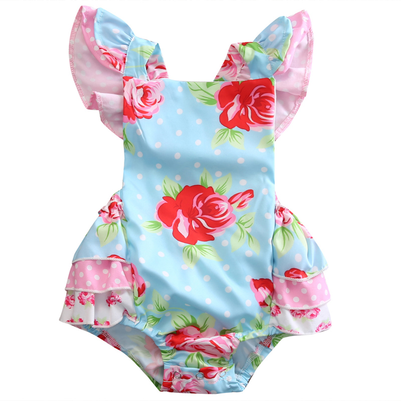 Newborn Baby Girl Ruffle Floral Sleeveless Cotton Romper Jumper Sunsuit Clothes