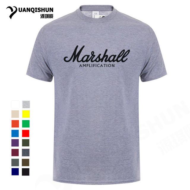 Hot sale Boutique T-shirt Summer 100% cotton Marshall t shirt men short sleeves tee hip hop streetwear for fans hipster XS-3XL