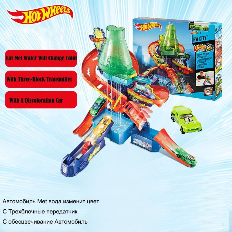 الأصلية عجلات العلوم مختبر تلون الساخنة hotwheels سيارة سكك ألعاب تعليمية هدية عيد الميلاد للأطفال CCP76-في عجلات ساخنة من الألعاب والهوايات على  مجموعة 1