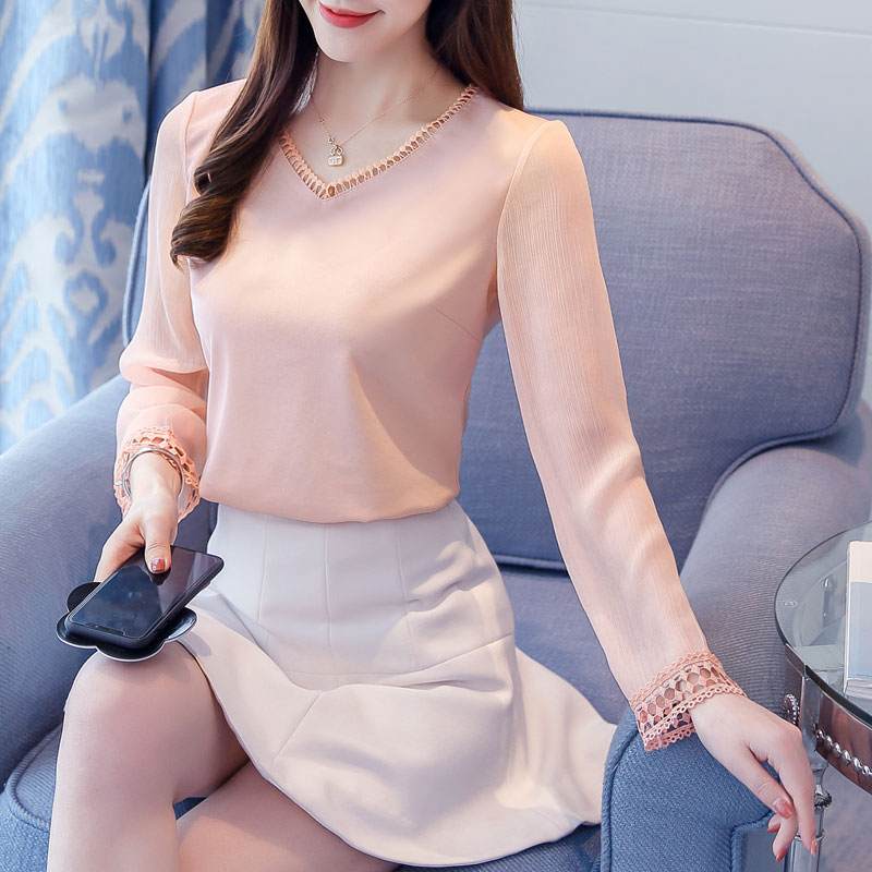 New Arrivals 2019 Spring Women   blouses   Solid color white pink long-sleeved loose chiffon women tops   blouses     shirts   blusas 980F3