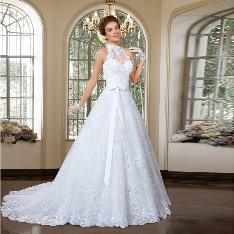 Superior Sexy Halter Neck Sleeveless New Designed 2 Pieces Bridal Dress With Sash  Elegant Wedding Dresses 2016 Appliques Lace In Wedding Dresses From Weddings  ...