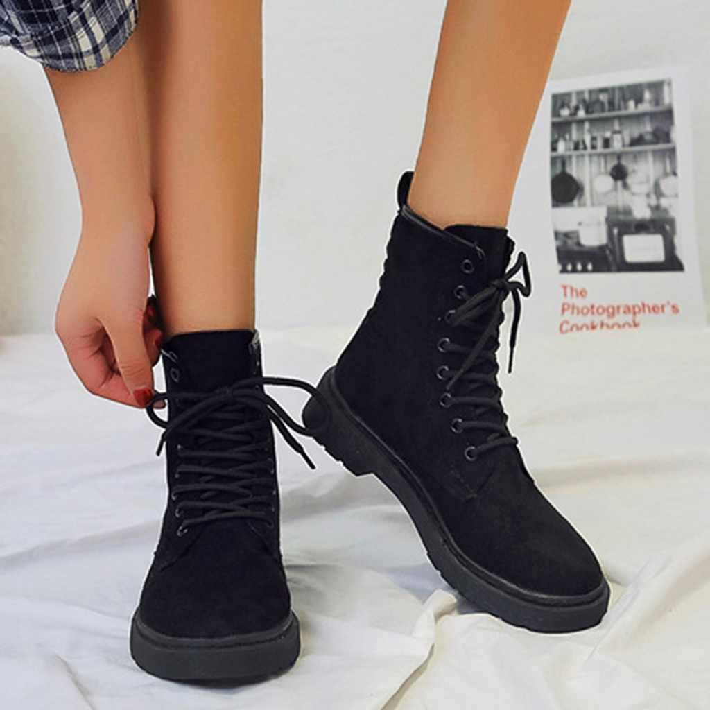 Botas de tobillo para mujer con cordones botas de invierno calzado suave botas de gamuza mujer 2019 invierno 7 #3,5