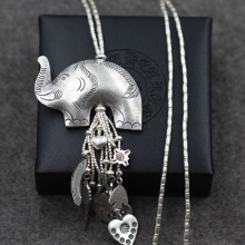 Thailand stamp exaggerated Chiang Mai sweater chain 925 Sterling Silver fringe elephant handmade silver wholesale