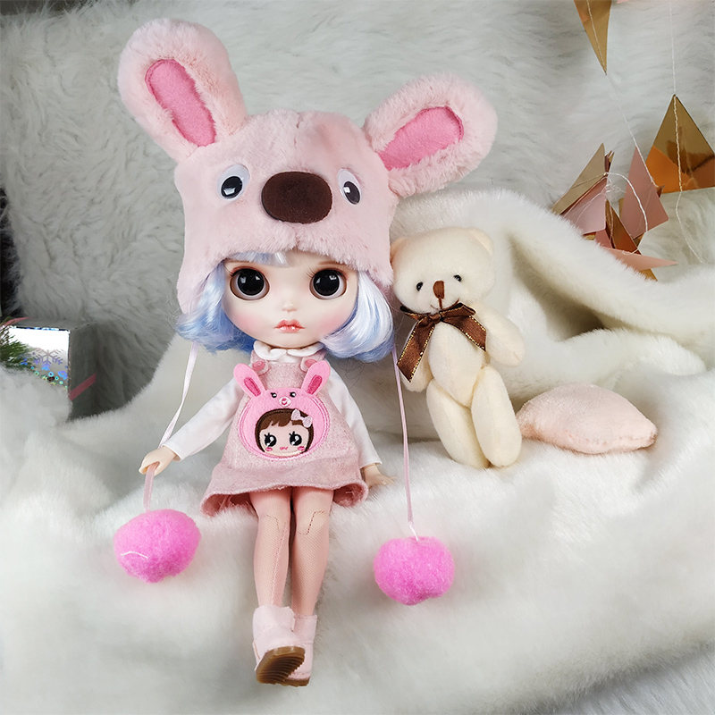 Бесплатная доставка 1/6 Blyth кукла с синим и белым цветом волос и милое платье солнечное лицо подходит для DIY Изменить игрушка BJD для девочек