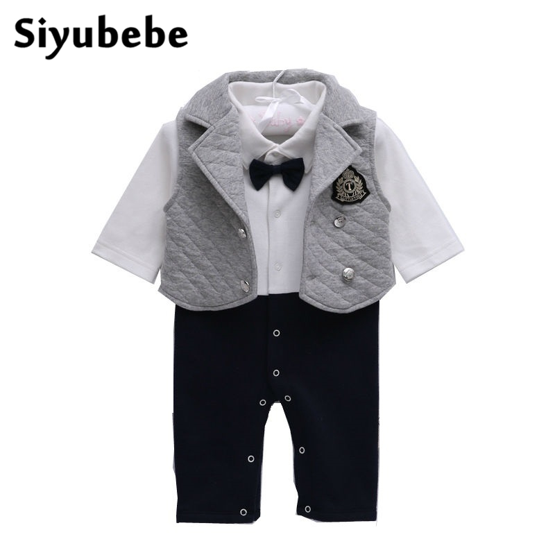 Newborn Baby Boys Rompers Infant Brand Thicken Cotton Gentleman Clothes 2 Pcs Set New Bebe Jumpsuit Clothing Jacket+Romper 0-12M new 2017 brand quality 100% cotton newborn baby boys clothing ropa bebe creepers jumpsuit short sleeve rompers baby boys clothes