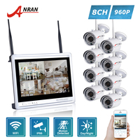 ANRAN P2P 8CH WIFI NVR 12 Inch LCD Screen 36 IR Outdoor Waterproof 1 3MP 960P