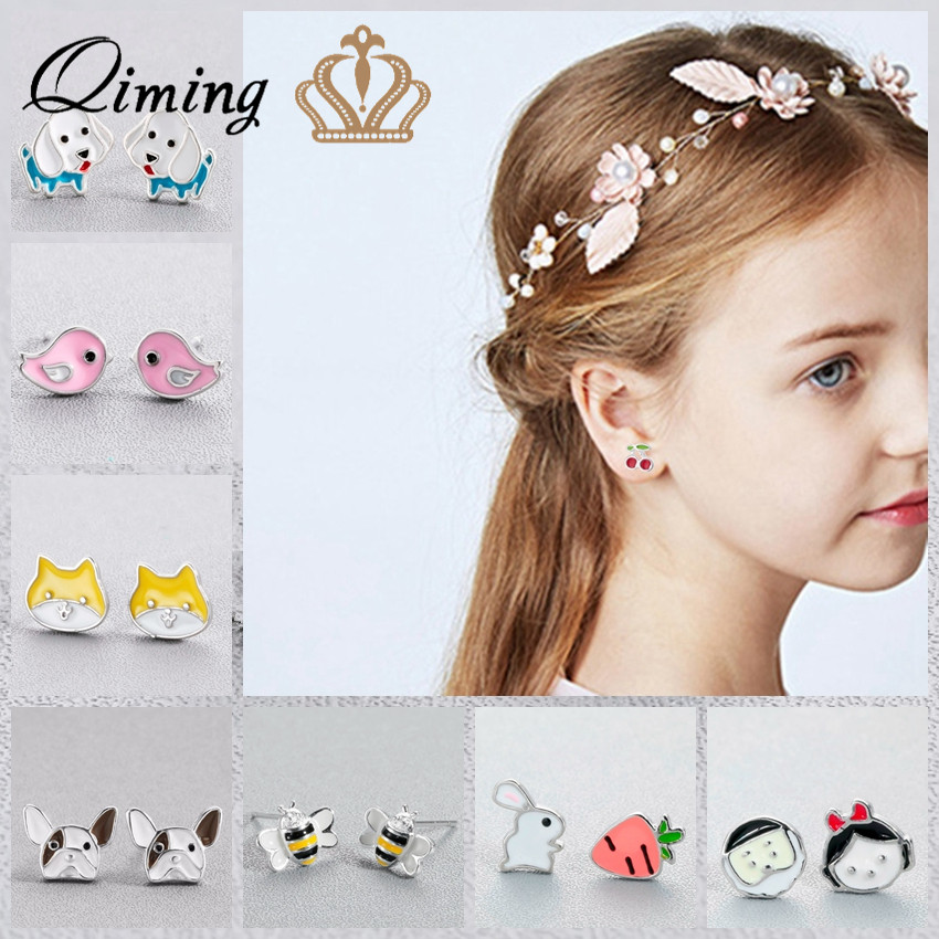Korean Cute Stud Kids Earrings For Girls Minimal Cat Bulldog