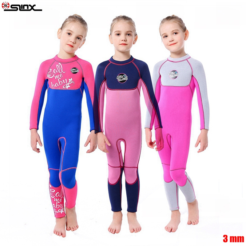 SLINX Neoprene Long Sleeves Kids Wetsuits Diving Swimming Suits for Girls Children Rash Guards One Pieces