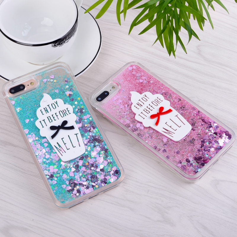 Clear Quicksand Case for iphone 6S 6 S plus iPhone8 iP5S Ice Cream Soft Silicon Cover for iphone 7 8 plus iPhone 5s 5 s se Case