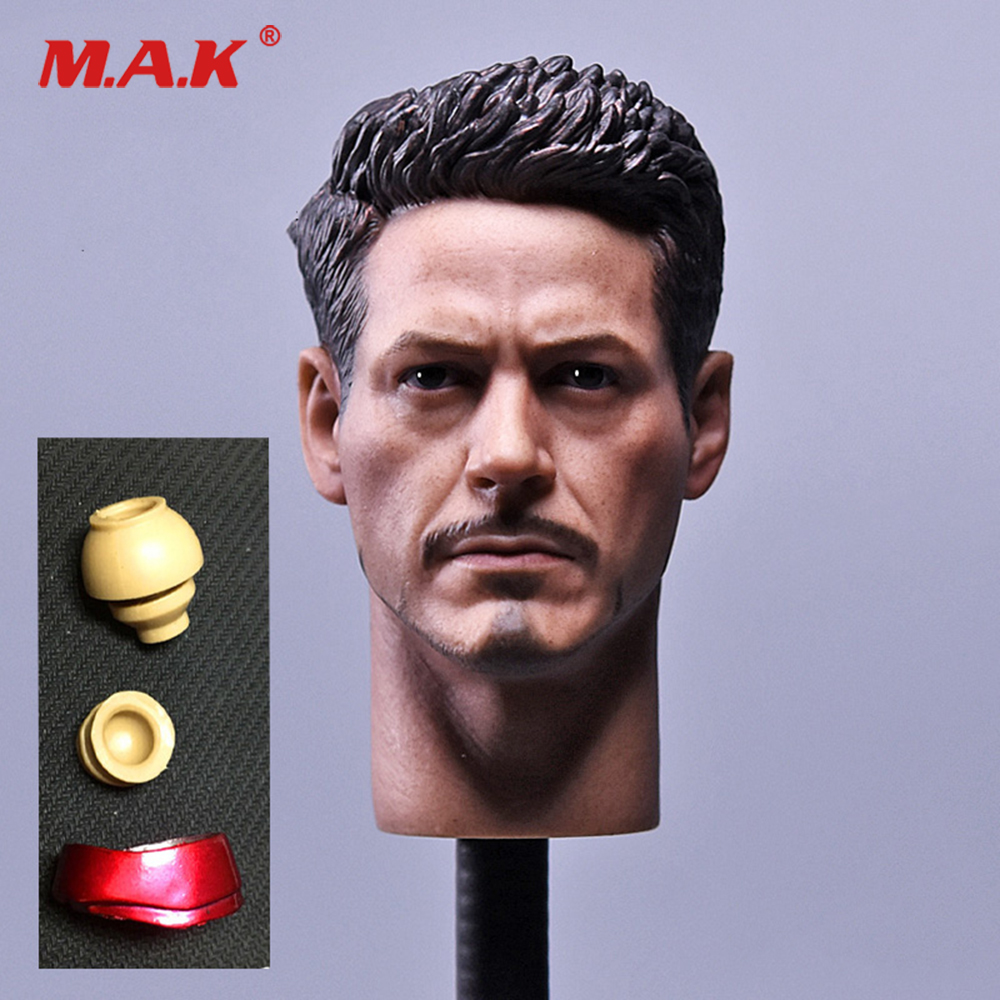 1/6 Scale Male Soldier Head Carved Iron Man Tony Stark Head Sculpt Model for 12 inche Action Figure Toys Collection Head Carving 1 6 scale male king leonidas calm face head for 12 male head carving model fit 12 action figure body doll toys accessories