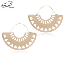 Badu Big Hollow Hoop Earring Semi-circle Vintage Declaration Ethnic Earrings Geometry Fashion Jewelry Punk Girl Dropshipping